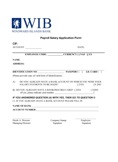 Payroll Salary Application Form