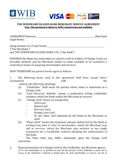 Credit Cards Merchant Agreement Form